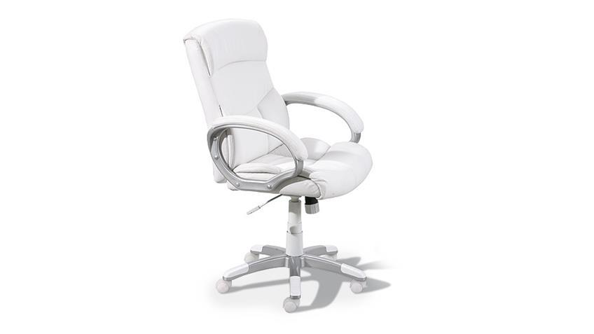 Drehstuhl ALBERTI Chefsessel Bürostuhl in Lederlook weiß
