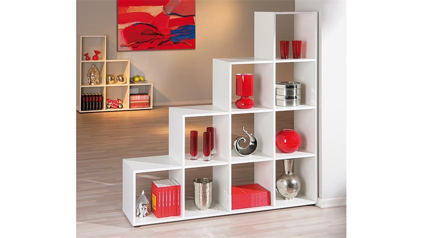 Raumteiler CABOTO Regal Stufenregal 10 Fächer in weiß Dekor