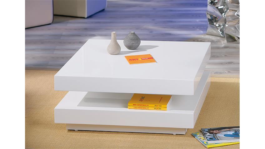 Couchtisch DUOMO Tischplatte in MDF weiß Hochglanz drehbar