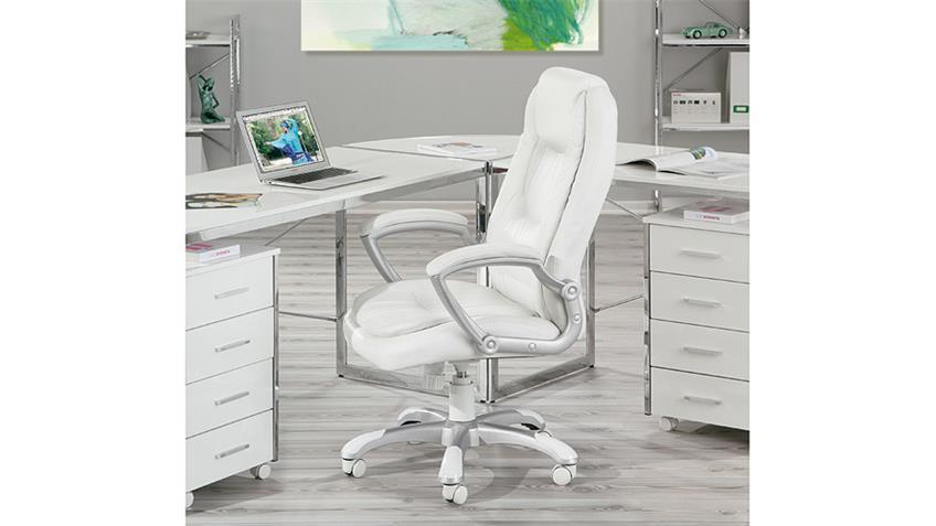 Drehstuhl MONTELLO Chefsessel Bürostuhl in weiß Lederlook