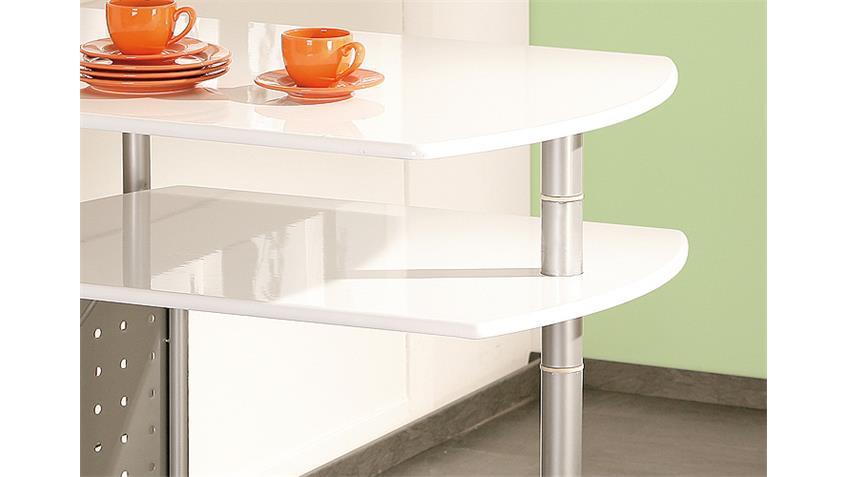 Küchenbar FILAMENTO Weiß Hochglanz Gestell Metall