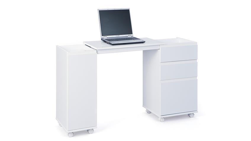 Schreibtisch LAPTOP OFFICE MDF weiß lackiert ausziehbar