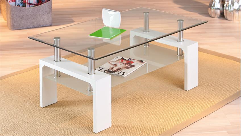 Couchtisch ALVA Glastisch Wohnzimmer Tisch in weiß und Glas
