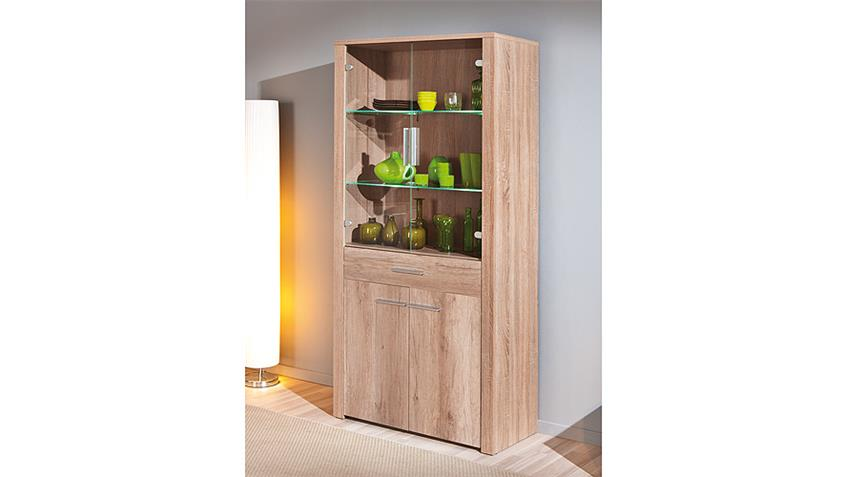 Vitrine II ABSOLUTO Buffet Schrank in Wildeiche inkl. LED
