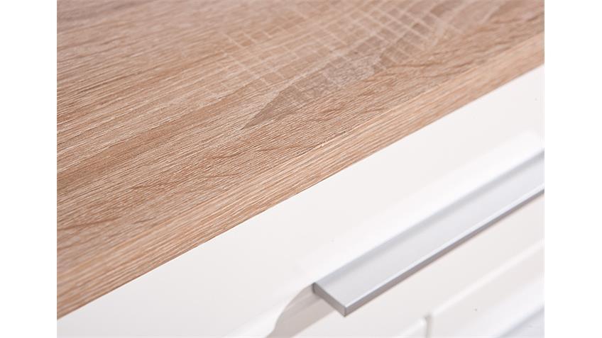 Sideboard ABSOLUTO Sonoma Eiche und Weiß Hochglanz