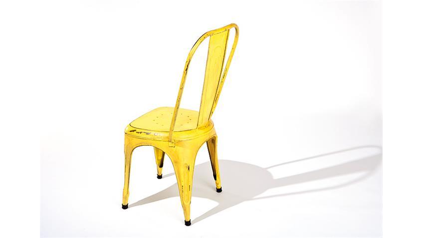 Stuhl 4er Set AIX in gelb mit Metallgestell im Antik-Look
