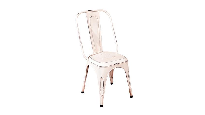 Stuhl 4er Set AIX in weiß mit Metallgestell im Antik-Look
