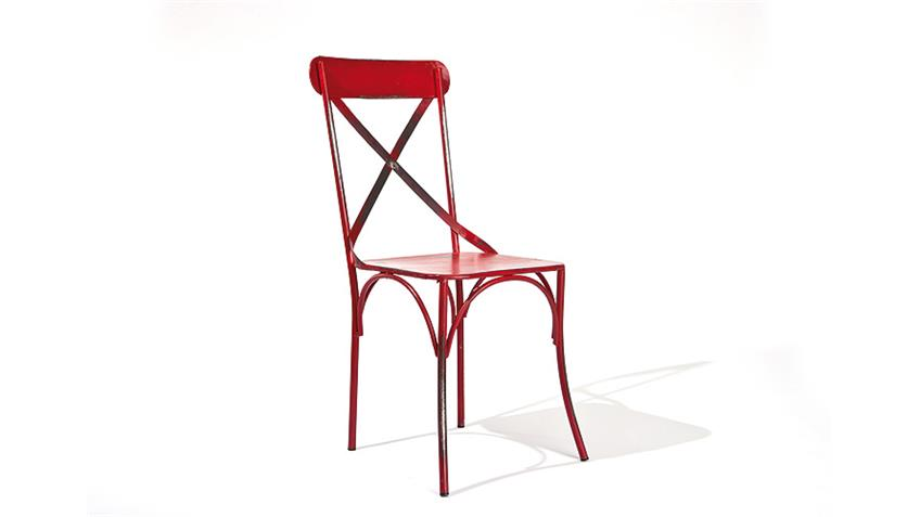 Stuhl BISTRO 2er Set rot mit Metallgestell Industrie Look