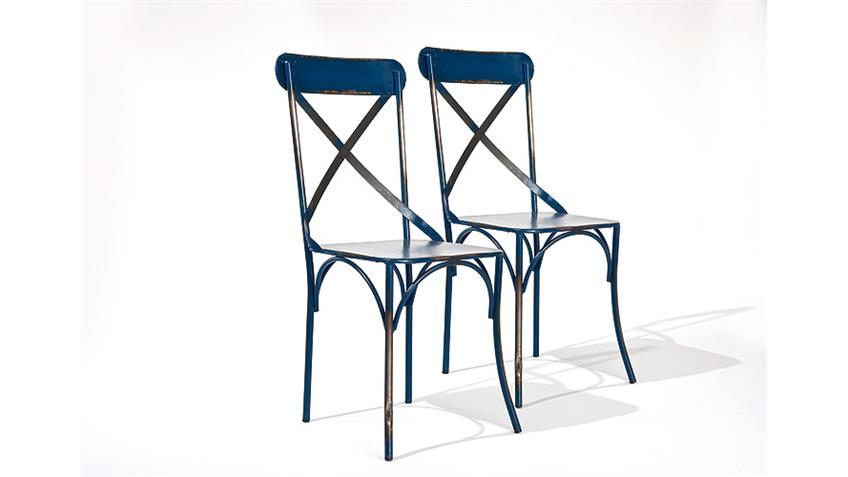 Stuhl BISTRO 2er Set in blau Metallgestell Industrie Look