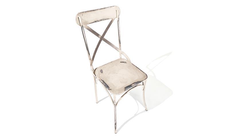 Stuhl BISTRO 2er Set weiß mit Metallgestell Industrie Look