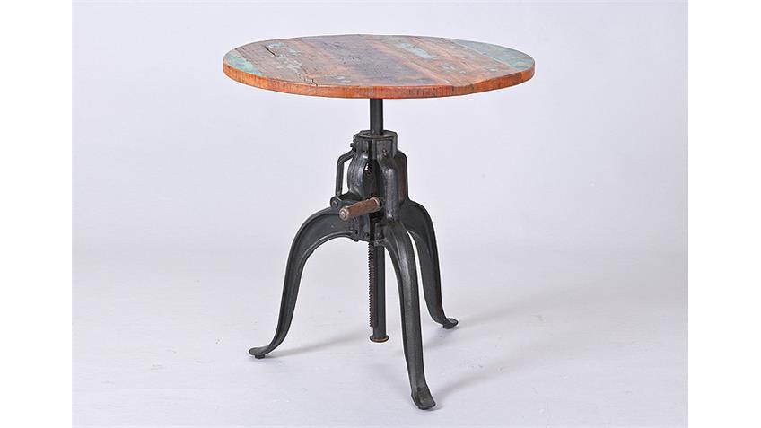 Tisch FUNDOS Mango massiv Metall schwarz höhenverstellbar