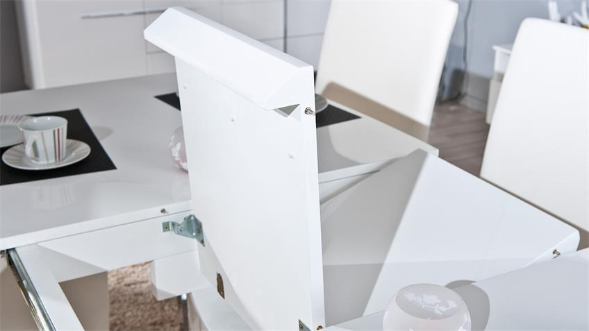 Esstisch WINNIPEG MDF weiß Hochglanz lackiert 160-200 cm