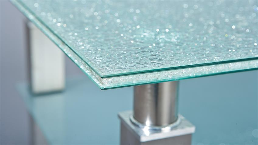 Couchtisch SWEETJE Glas in Chrash-Optik 110x70 cm