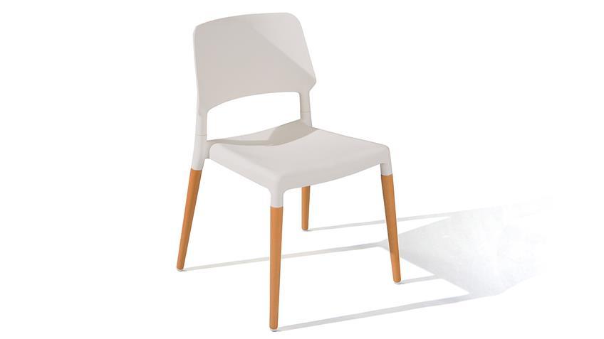 Stuhl TILDE 4er-Set in weiß und Buche natur massiv