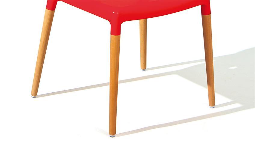 Stuhl TILDE 4er-Set in rot und Buche natur massiv