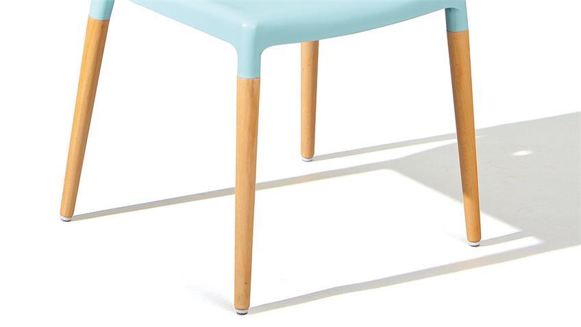 Stuhl TILDE 4er-Set in blau und Buche natur massiv