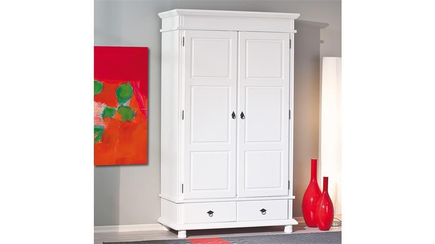 Kleiderschrank DANZ Kiefer massiv weiß lackiert 2-türig