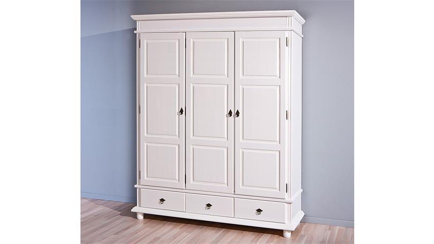 Kleiderschrank DANZ Kiefer massiv weiß lackiert 3-türig