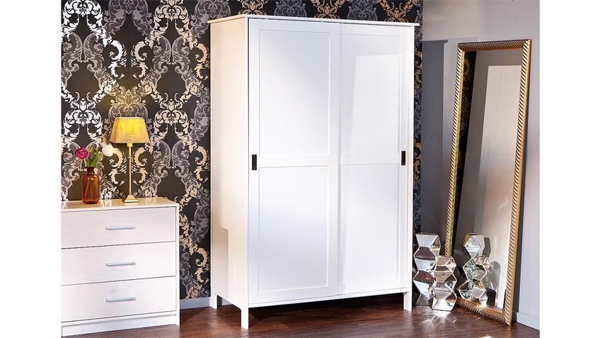 Kleiderschrank MAFRA Kiefer massiv weiß lackiert 2-türig