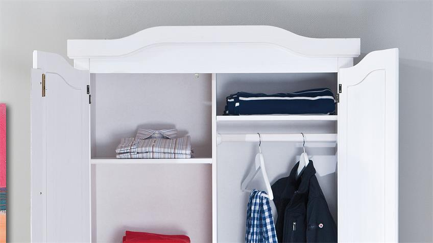 Kleiderschrank HEDDA Kiefer massiv weiß lackiert 2-türig
