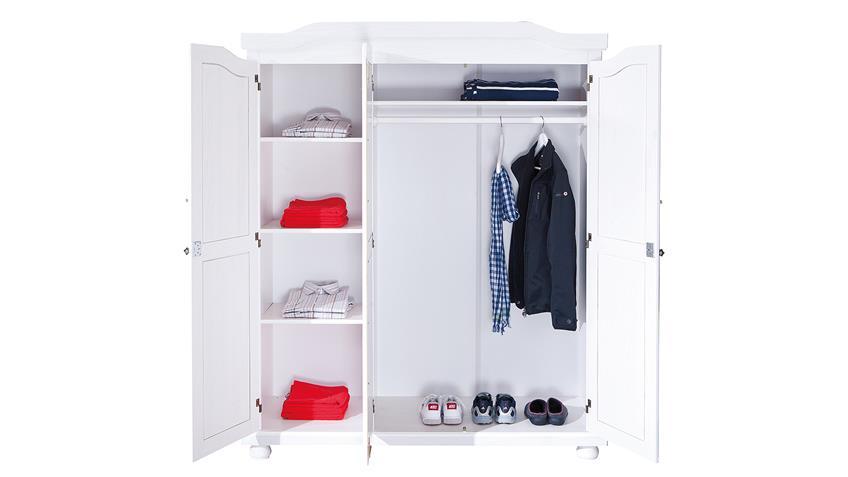 Kleiderschrank BASTIAN Kiefer massiv weiß lackiert 3-türig