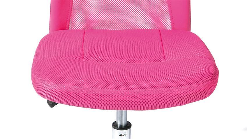 Drehstuhl BONNIE pink Metall Chrom Höhenverstellung TÜV