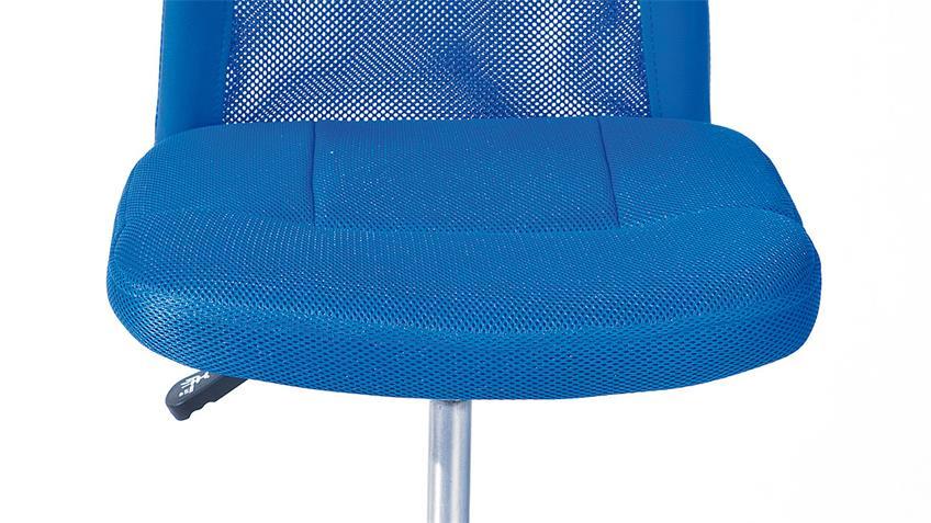 Drehstuhl BONNIE blau Metall Chrom Höhenverstellung TÜV