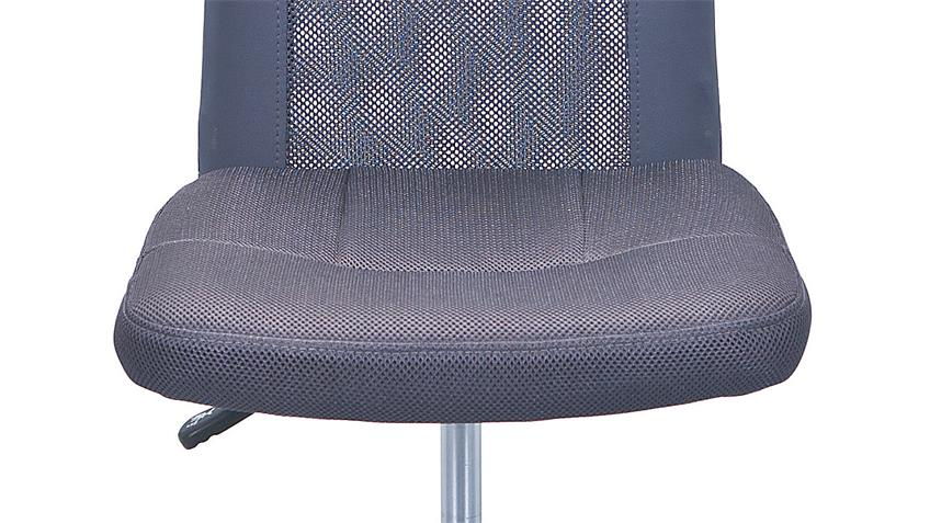 Drehstuhl BONNIE grau Metall Chrom Höhenverstellung TÜV