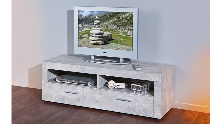 TV-Board BETON in hellgrau mit 2 Fächern und 2 Schubkästen