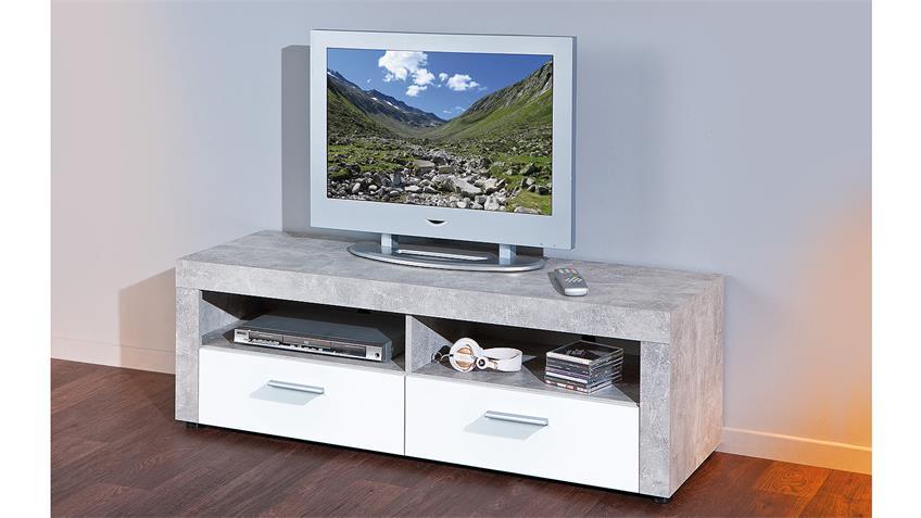 TV-Board BETON in hellgrau weiß Hochglanz mit 2 Fächern