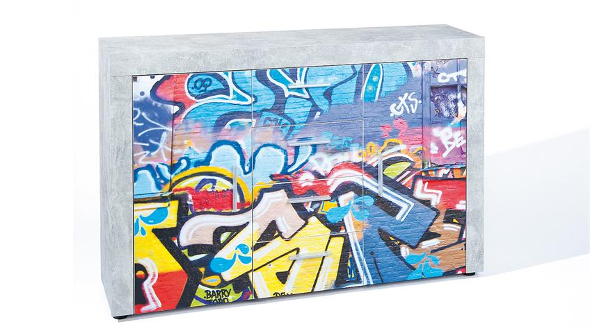 Kommode BETON hellgrau mit Graffiti-Motiv bedruckt 2-türig