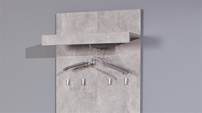 Garderobe BETON in hellgrau weiß mit 4 Haken und 1 Klappe