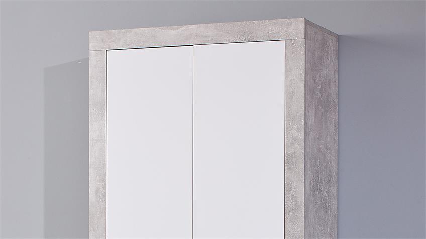 Garderobenschrank BETON in hellgrau und weiß mit 2 Böden