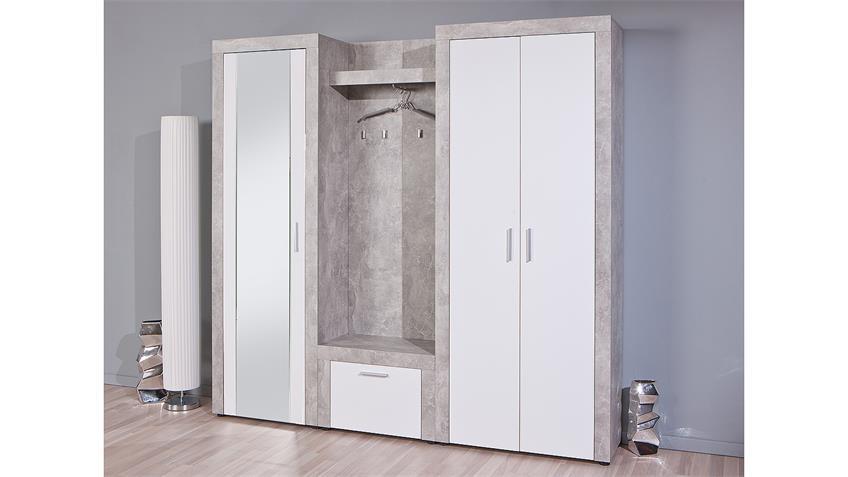 Garderobe BETON Flurmöbel in hellgrau und weiß 3-teilig