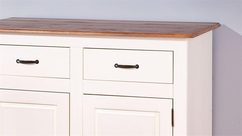 Sideboard 1 CASSALA Kiefer massiv altweiß lackiert braun