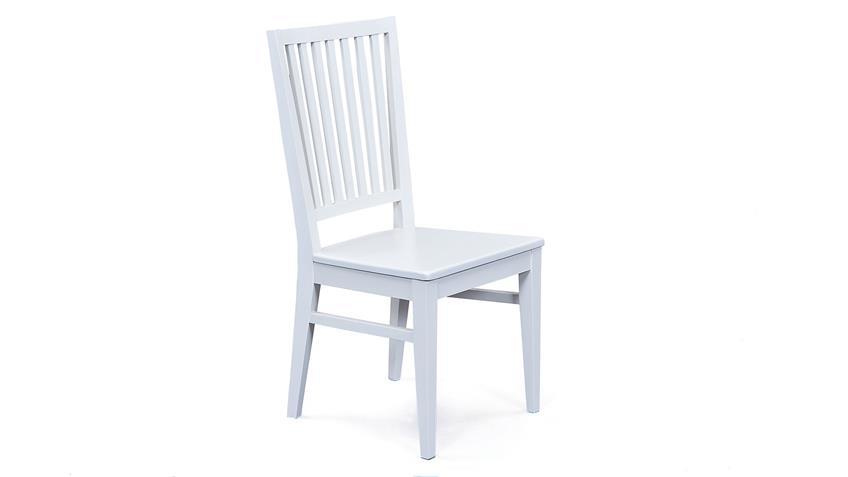 Stuhl CASSALA 2er-Set in Buche massiv altweiß lackiert