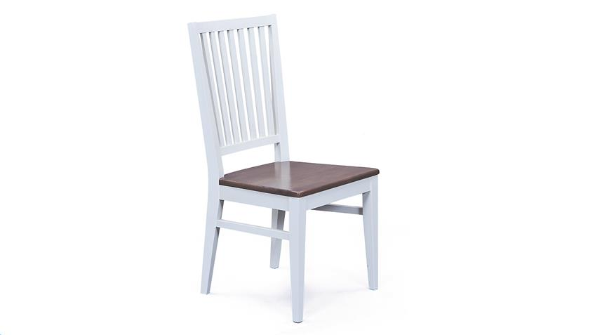 Stuhl CASSALA 2er-Set Buche massiv altweiß braun lackiert
