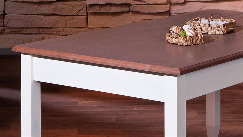 Tischgruppe CASSALA Kiefer Buche massiv altweiß braun Lack