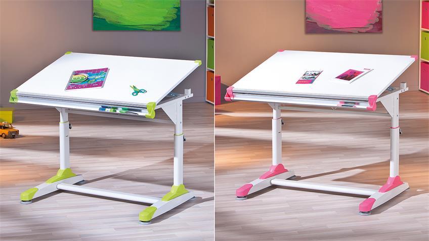 Schüler-Schreibtisch 2COLORIDO in MDF weiß und pink grün