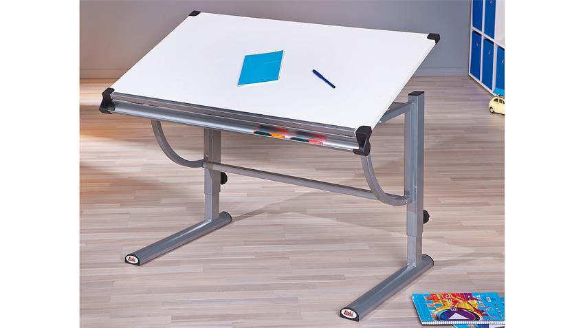 Kinder-Schreibtisch SPEEDY weiß Metall silbergrau lackiert