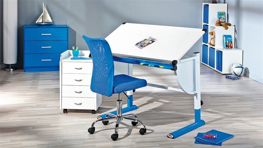 Kinder-Schreibtisch CETRIX weiß und Metall blau lackiert