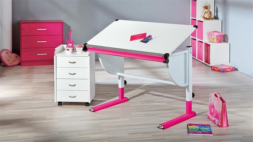 Kinder-Schreibtisch CETRIX weiß und Metall pink lackiert