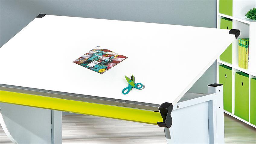 Kinder-Schreibtisch CETRIX weiß und Metall grün lackiert