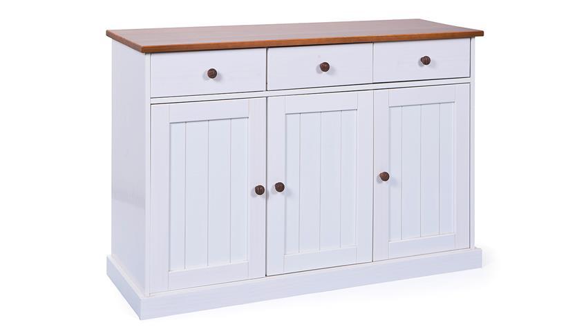 Sideboard WESTERLAND Kiefer massiv weiß braun lackiert