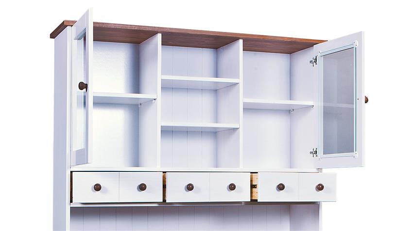 Buffet 3 WESTERLAND Kiefer massiv weiß braun lackiert