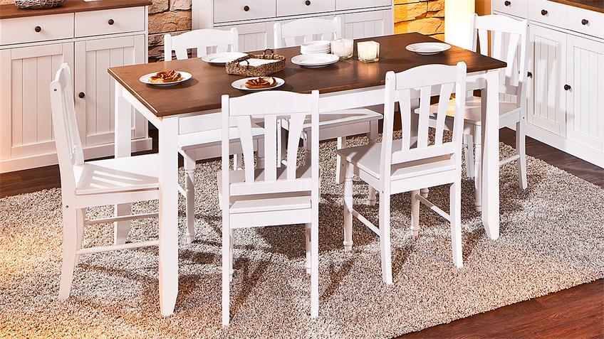 Esstisch WESTERLAND Kiefer massiv weiß braun lackiert