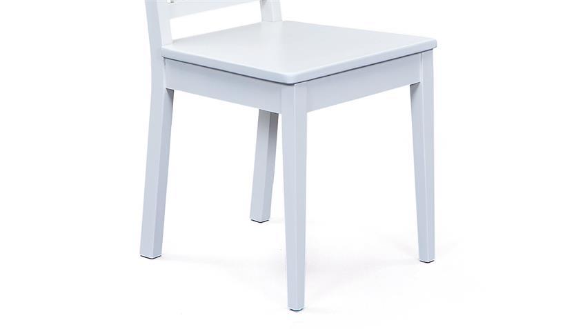 Stuhl WESTERLAND 2er-Set Buche massiv weiß lackiert