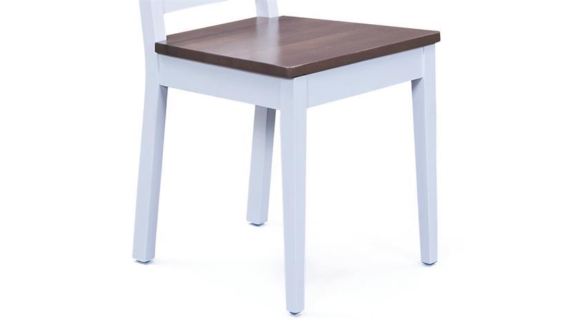 Stuhl WESTERLAND 2er-Set Buche massiv weiß braun lackiert