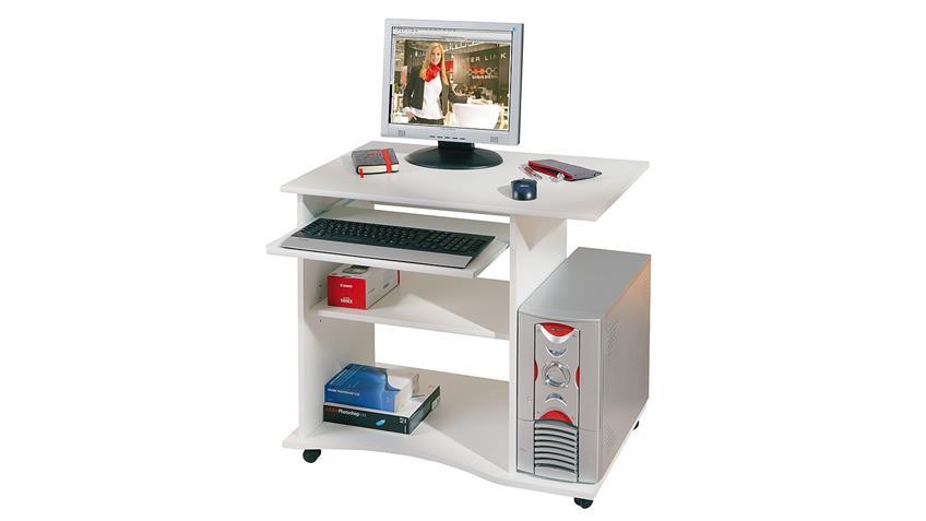 Schreibtisch PEPE Computertisch weiß mit Tastaturauszug