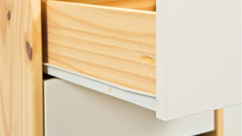 Rollcontainer GUDJAM Rollwagen MDF weiß lackiert und Massivholz natur
